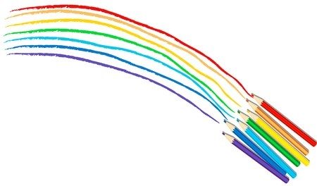 Pencils of all rainbow colors organized in a symbolic rainbow on a white sheet of paper
