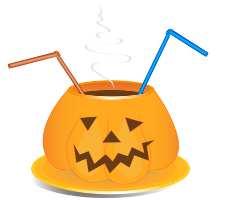 Coffee or other drink cup in pumpkin shape as old jack-o-lantern style with drink straws