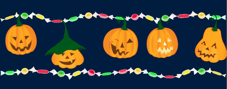 Emotion pumpkins with bright colorful candies trick or treat Illustration