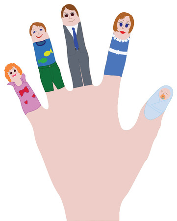 Father, mother, sister, brother on fingers as a symbol of happy family Иллюстрация