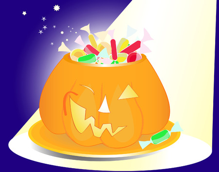 Halloween pumpkin vase full of sweets and sparkles in the spotlight