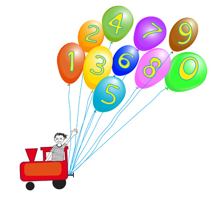 Toy train operated by smiling boy with colorful baloons and numbers for preschool learning