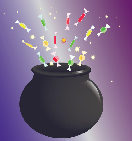 Witch pot with magic boling and colorful sparkles