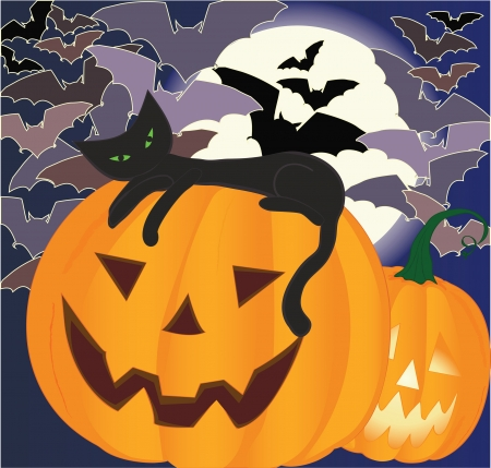 Black cat laying on smiling halloween pumpkin, bats and big moon on background