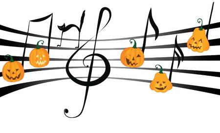 Pumpkin notes dancing on notes staff with balck cat and treble clef - Halloween party