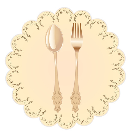 Vintage old style  spoon and fork on a napkin ready to serve