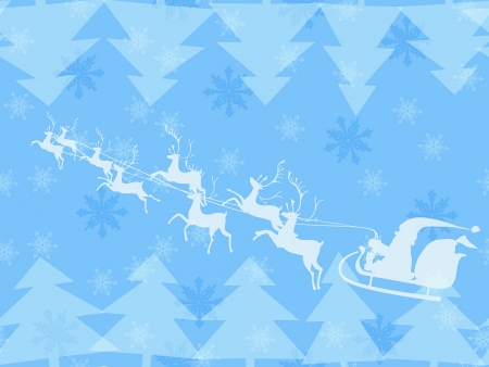 Christmas theme of Santa Claus running his reindeer among geometric christmas tree and tender snowflakes made in blue pastel color