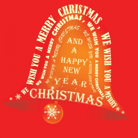 Golden bell on a red background with words of Christmas carrol and song on it