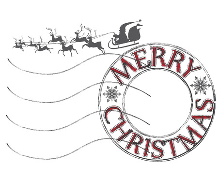 Post letter stamp with Merry Christmas good wishes and Santa Claus with reindeers silhouette Illustration