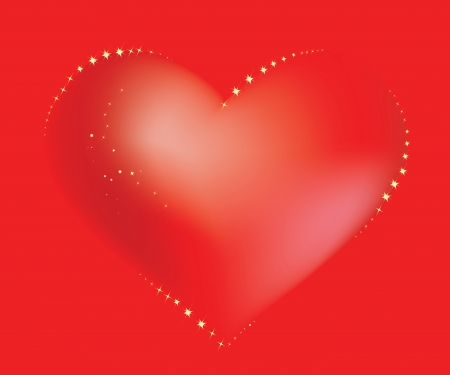 Red loving heart twinkles with glamour sparkles on the red background Illustration