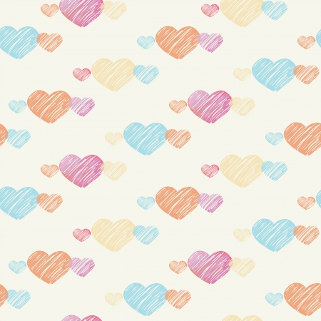 Seamless pattern of pastel colored sketch hearts on light vanilla background