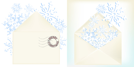 Paper snowflakes popping out of envelope front and rare side