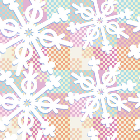 Geometric style paper-like snowflakes scattered all over pastel colors patchwork seamless pattern wrapping Illustration