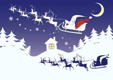 Santa Claus with reindeer flying with sack of presents over white snowy forest on Christmas Eve