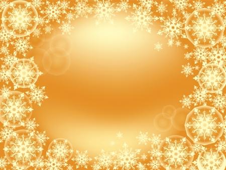 Frame of tender golden snowflakes scattered on the gold background for Christmas card, screensaver, wallpaper Ilustração