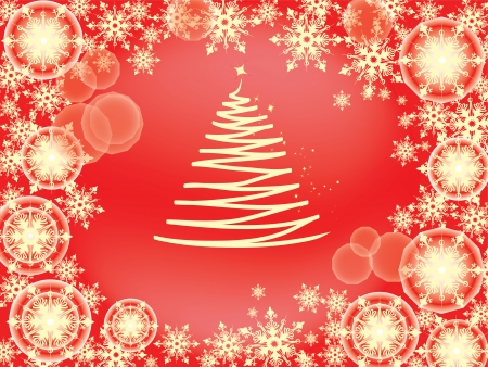 Frame of tender golden snowflakes scattered on the red background for Christmas card, screensaver, wallpaper