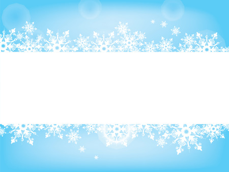 Wish card of snowflakes scattered on the white word pad on tender blue background Ilustração