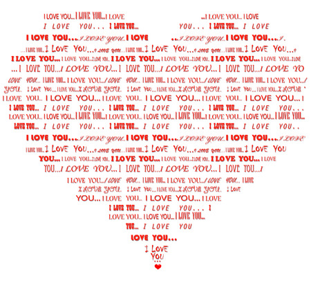 Word cloud of red I love you message in various fonts in a form of heart Illustration
