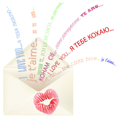 Heart shaped lips printed on the opened envelope with I love you message appearing in different languages Ilustracja