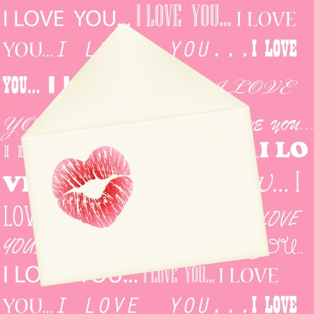 Heart shaped lips imprint on the envelope on pink background with I love you message in various fonts