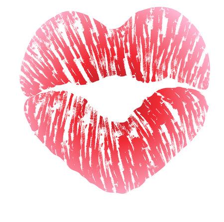 beso: Impresión de los labios en forma de corazón beso con lápiz labial de color rosa