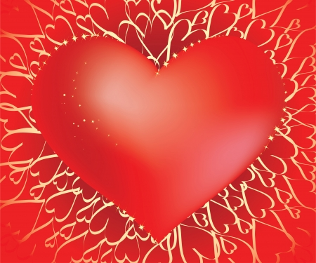 Big red glamour sparkling heart on the gold heart shaped chains background
