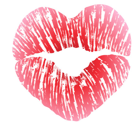 Imprint of heart shaped lips kiss with pink lipstick