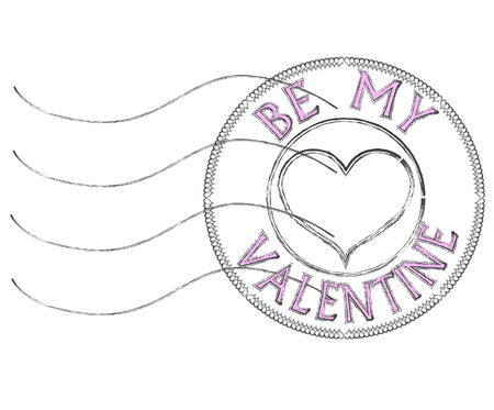Post stamp with proposal to be my Valentine in pink blurred letters Stock Photo