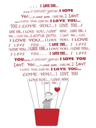 Smiling boy with red heart in hands flying towards hiw girlfriend in hot air baloon composed of words I love you Stock Photo