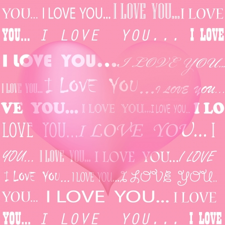 Pastel pink seamless background with I love you declaration of love in various font styles Imagens - 25313468