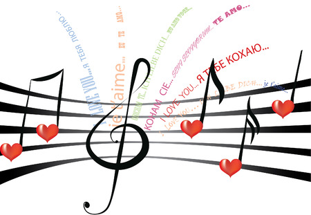 Declaration of love written in various languages and fonts on the staff notation with heart shaped notes and treble clef