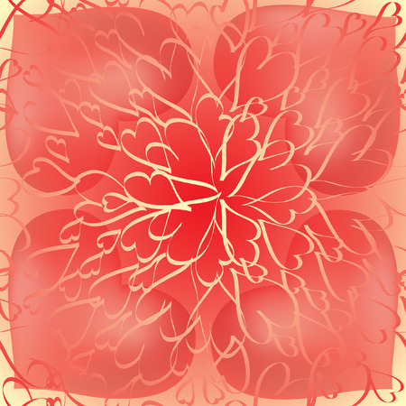 Seamless background of rays-like organized small hearts with bigger red hearts geometrically organized