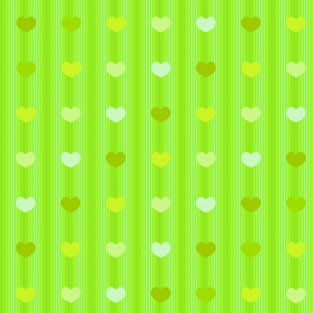 Green shades pastel simple hearts on striped cloth of like colors seamless background