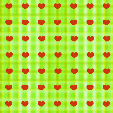 Simple red hearts on green sacking tablecloth seamless background for wrapping and wallpaper design Ilustração