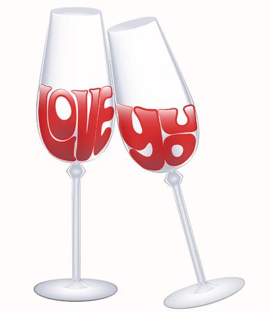 Love you declaration in high glasses of wine Ilustração