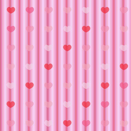 Pink and red transparent hearts on striped cloth seamless background for wrapping and wallpaper design