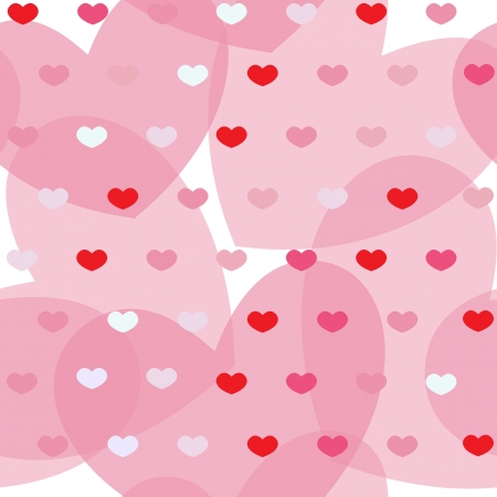 Pink and red simple hearts on white seamless background