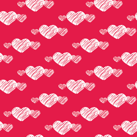 White scratch chalk written hearts on red seamless for wrapping or wallpaper design Illustration