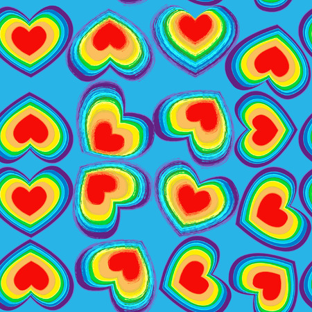 All rainbow coloured hearts seamless texture background for wrapping package or wallpaper Ilustração
