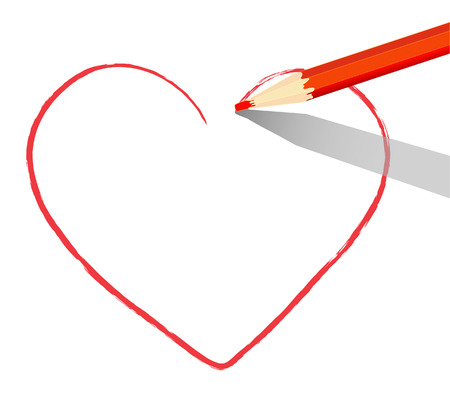 Red heart drawn with red pencil over a white sheet of paper