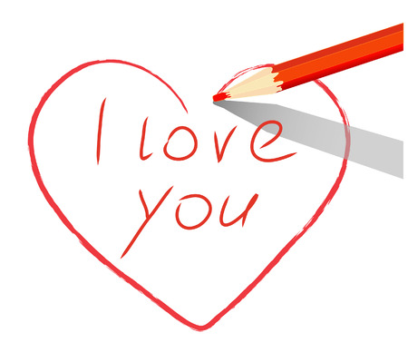 Red heart drawn with red pencil words I love you over a white sheet of paper