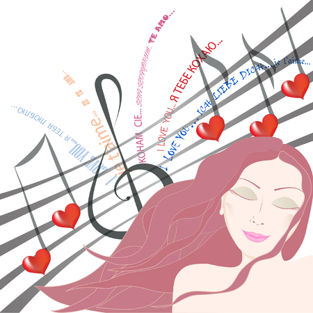 Beautiful woman dreaming about beloved singing a love song to her symbolyzed by note staff with notes and words of love  Vector