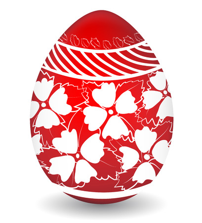 Easter egg painted in red and white colours hand made for congratulations with Happy Easter