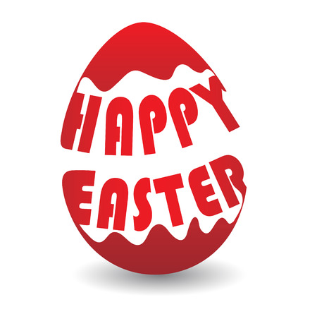 Easter egg colored in white and red with signature Happy Easter Imagens - 27541279