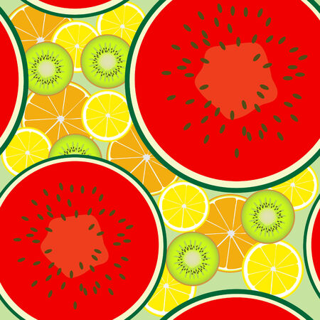 Seamless pattern of juicy fruit slices scattered on a light green Imagens