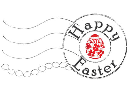 Post stamp congratulation with happy easter with traditional painted egg symbol Imagens