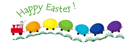 Rainbow Easter train with painted eggs shape vagons Stock Photo