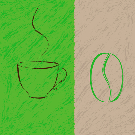 Coffee cup and bean silhouette on green and cream grunge background
