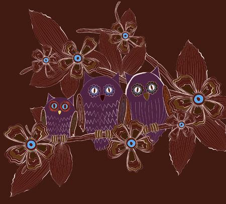 Big eyed owls family sitting on tree brunch at night Imagens - 28526580