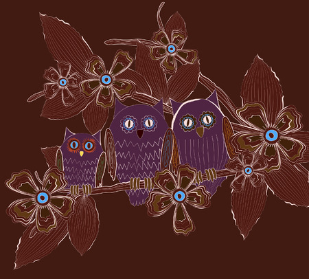 Big eyed owls family sitting on tree brunch at night